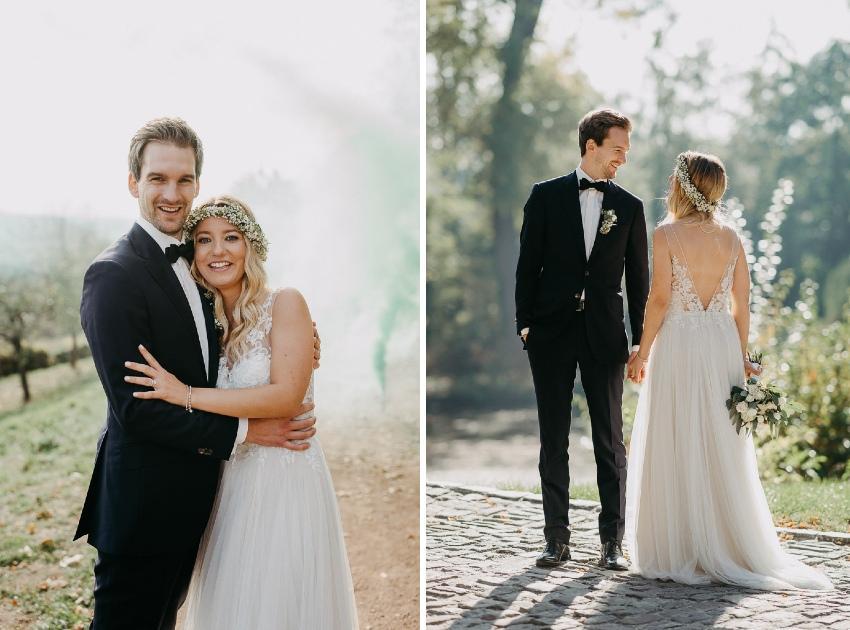 Hochzeitsfotograf macht Fotos eines Paars