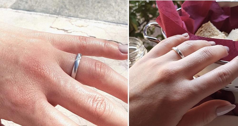 """Verlobungsring """"Gratia"""" aus Silber mit Diamant (0,07 ct.)"""