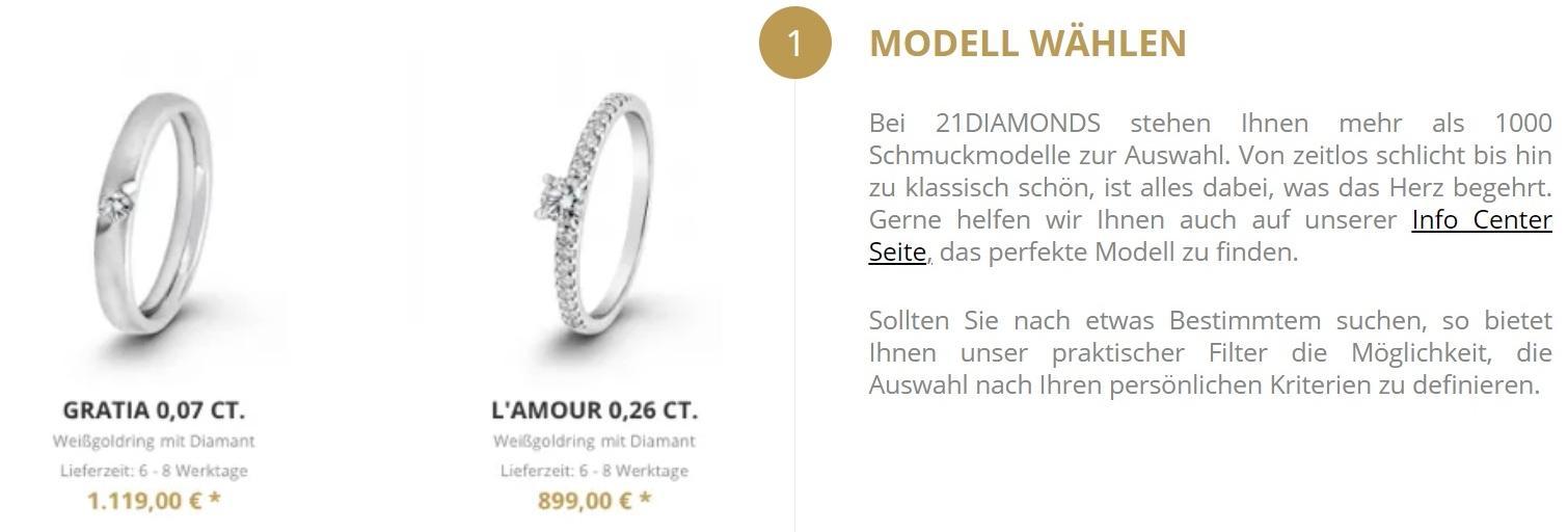 Der Schmuckkonfigurator von 21diamonds.de - Individueller Verlobungsring