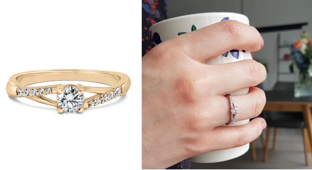 Harmony   Verlobungsring aus Roségold mit Diamant (Gesamt: 0,37 ct.)